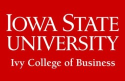 Iowa State University Ivy College of Business text in white with red background