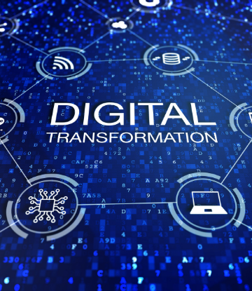 "Supply Chain Scene, futuristic image with words ""Digital Transformation"""