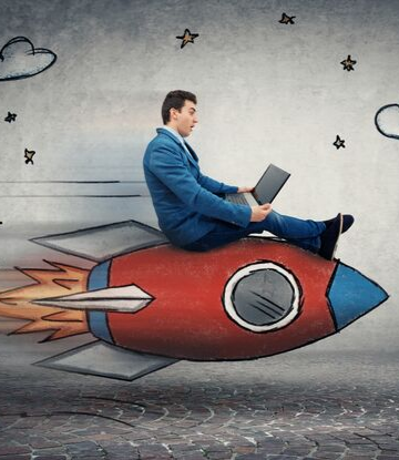 Supply Chain Scene, image of a business person sitting on a rocket