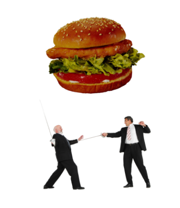 Supply Chain Scene, image of two men dueling with swords underneath a giant chicken sandwich