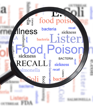 "Supply Chain Scene, image of a magnifying glass over the words ""food poisioning"""
