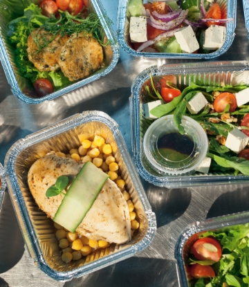 SCS, image of complete meals in carry out containers