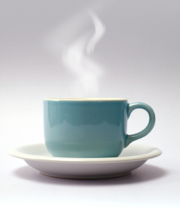 SCS, picture of a steaming mug of hot coffee