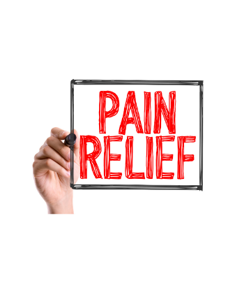 SCS, hand writing the words PAIN RELIEF on glass