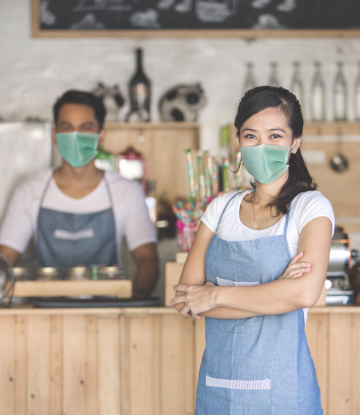 SCS, image of 2 restaurant workers wearing face masks