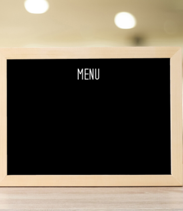 SCS, image of a chalkboard with the word MENU at the top with nothing underneath