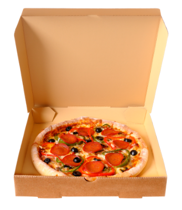 SCS, image of an open cardboard pizza box, with pizza