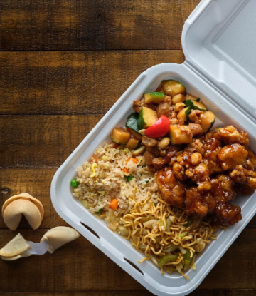 SCS, image of a clam shell package with Chinese take away food
