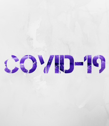 SCS, gray and purple graphic that reads COVID-19