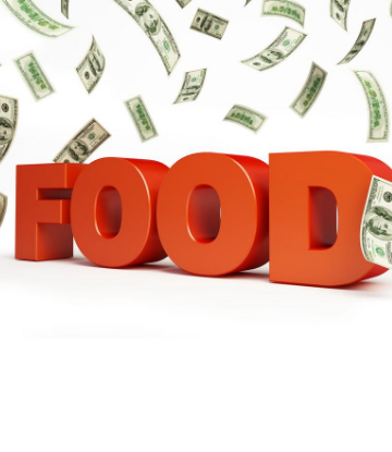 Graphic of the word FOOD with falling dollar bills all around it