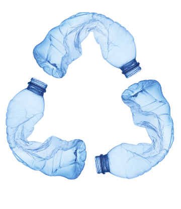 Image of plastic watter bottles crunched in to a RECYCLE symbol