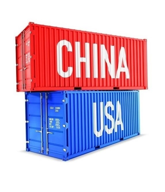 "Red shipping container labeled ""China"" stacked on top of blue shipping container labeled ""USA""."