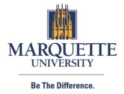 "Yellow and dark blue Marquette University logo with motto ""Be the Difference"""