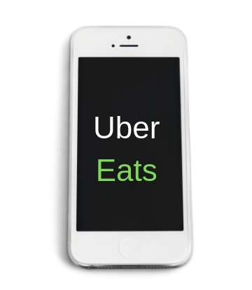 Supply Chain Scene, image of an iphone with Uber Eats text