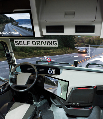 Supply hain Scene, image of the cab of an autonomous truck