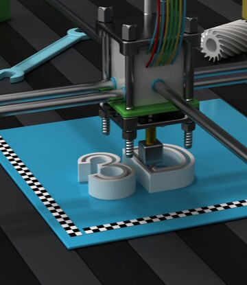 "Supply Chain Scene, image of a 3D printer, printing the words ""3D"""