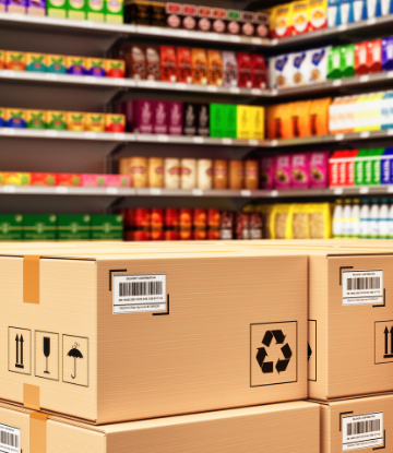 SCS, image of a food warehouse with products on shelves and in boxes
