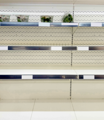 SCS, image of store shelves that are mostly empty