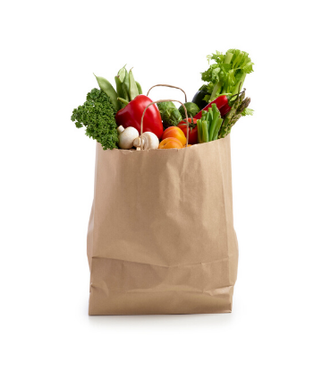 SCS, image of fresh produce in a brown shopping bag
