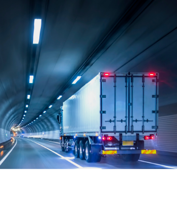 SCS, image of an 18-wheeler going through a tunnel