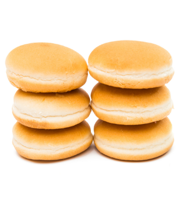 SCS, image of 2 stacks of fresh, plain hamburger buns