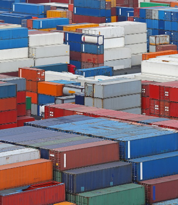 Image of a shipping yard of stacked containers