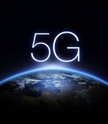 image of planet earth with 5G on top of it