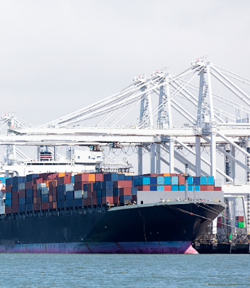 Image of a large container ship at port