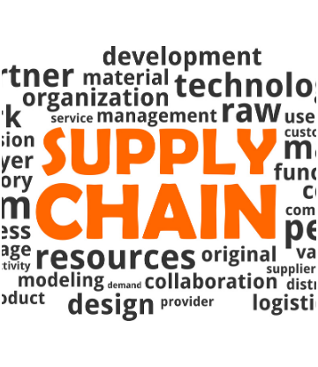 Text graphic with SUPPLY CHAIN in orange surrounded by related words