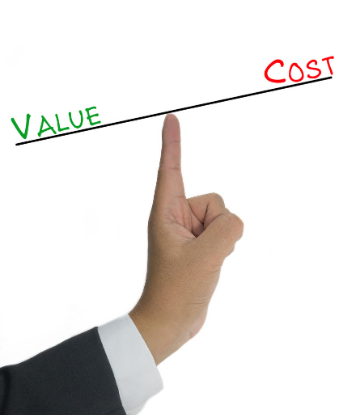 Image of a index finger balancing the workds Value and Cost
