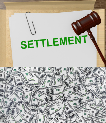 Image of a pile of money under a court document that reads SETTLEMENT