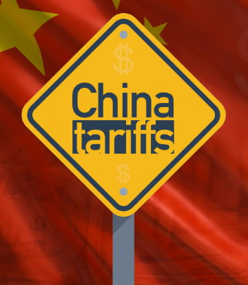 Image of a yellow sign that reads CHINA TARIFFS