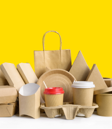 Image of a variety of plain cardboard food packaging